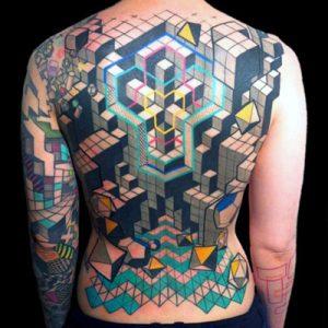 Сложное тату кубик Рубика